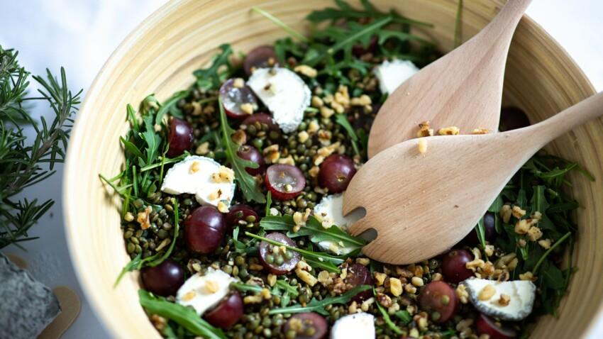 Salade de lentilles, noix, Sainte-Maure-de-Touraine & raisins blancs