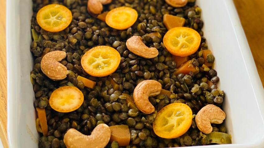 Lentille verte, noix de cajou, curry et kumquat