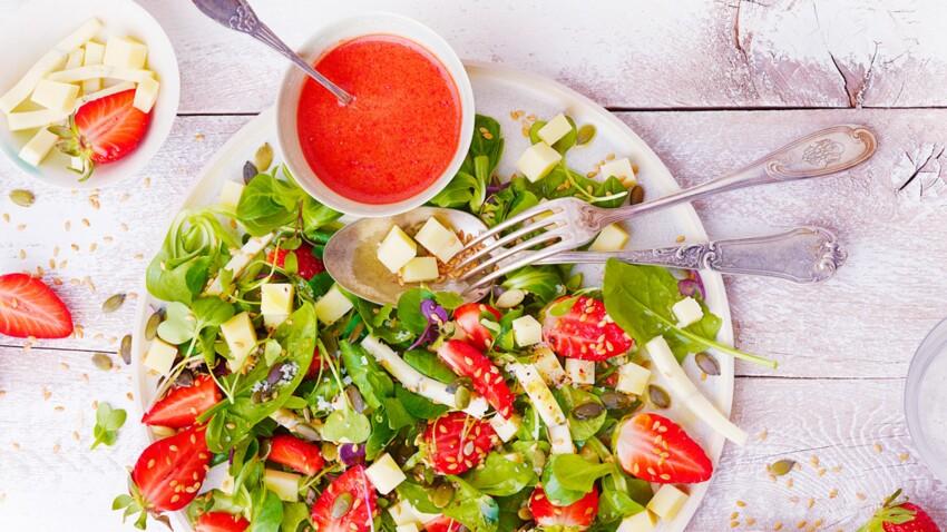 Salade de fraises au morbier et au comté