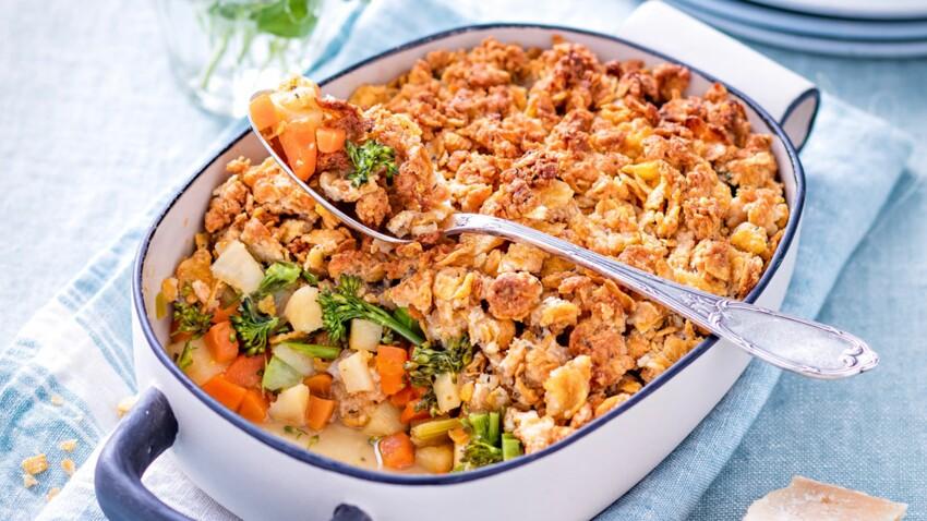 Crumble de légumes aux corn flakes anti-gaspi