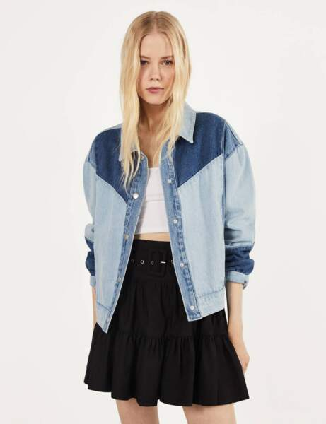 Veste en jean : patchwork