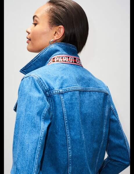 Veste en jean : à message