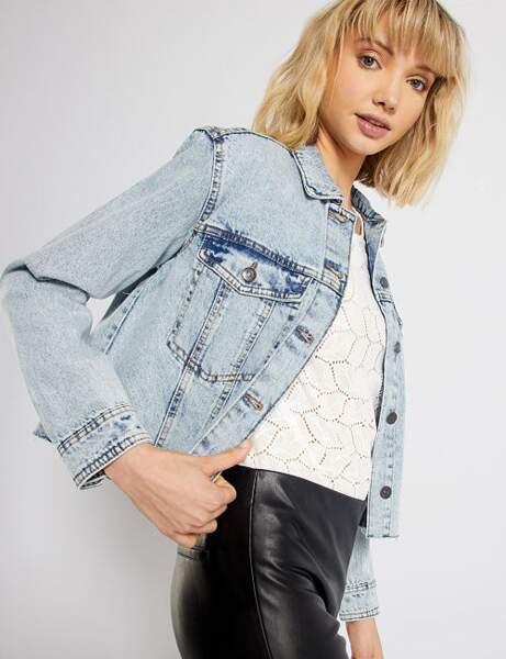 Veste en jean : bleached