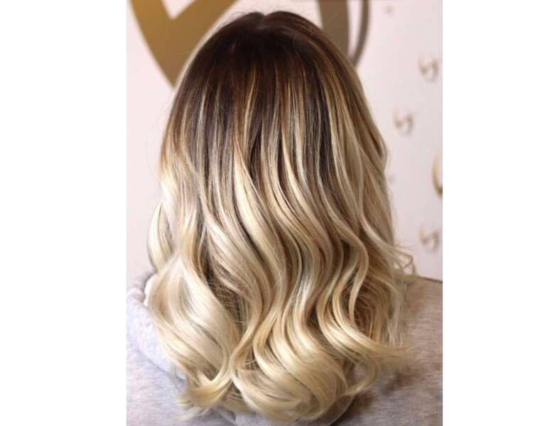 Ombré hair blond sur carré long