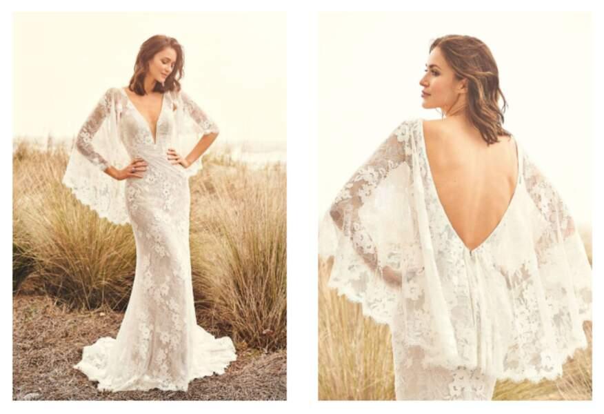 Robe en dentelle avec manches drapées - Lilian West