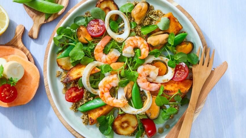Salade de fruits de mer aux légumes rôtis et vinaigrette à la moutarde