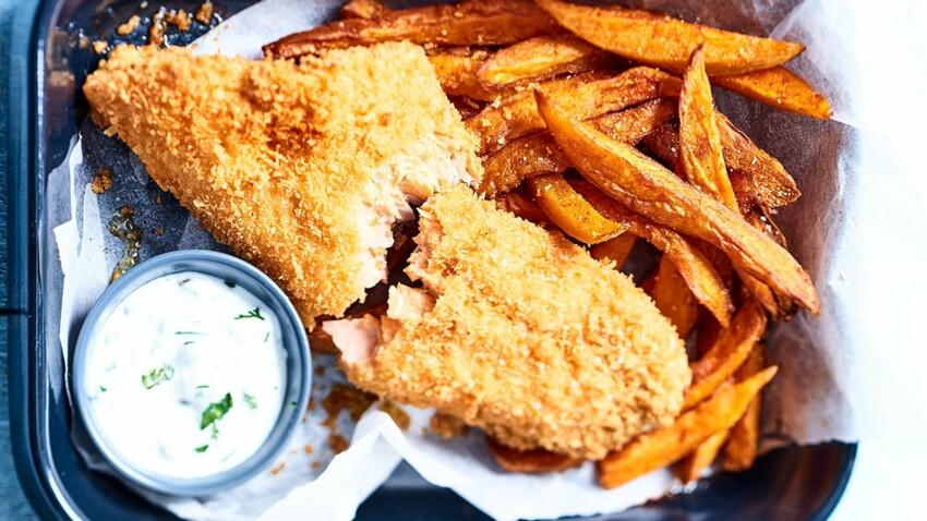 Fish and chips de truite, frites de patates douces aux épices