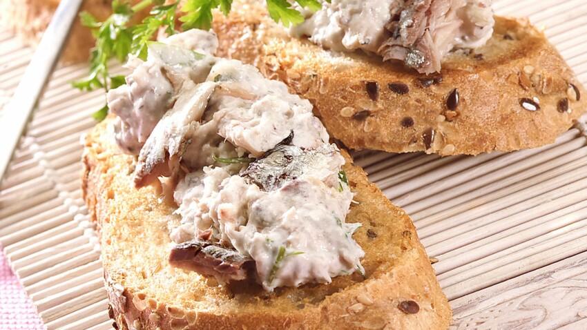 Toasts de rillettes de filets de sardines citron basilic