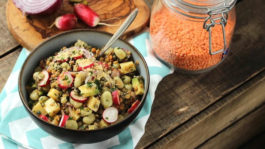 Salade gourmande de lentilles et fèves aux radis roses