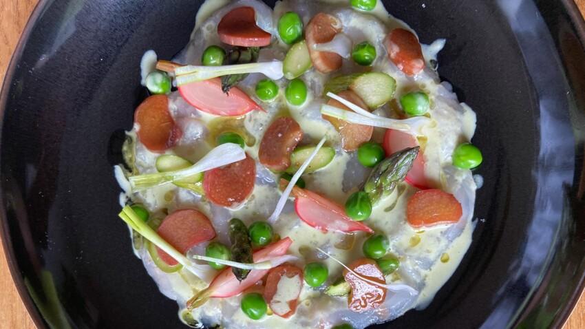 Carpaccio de poisson blanc aux légumes printaniers