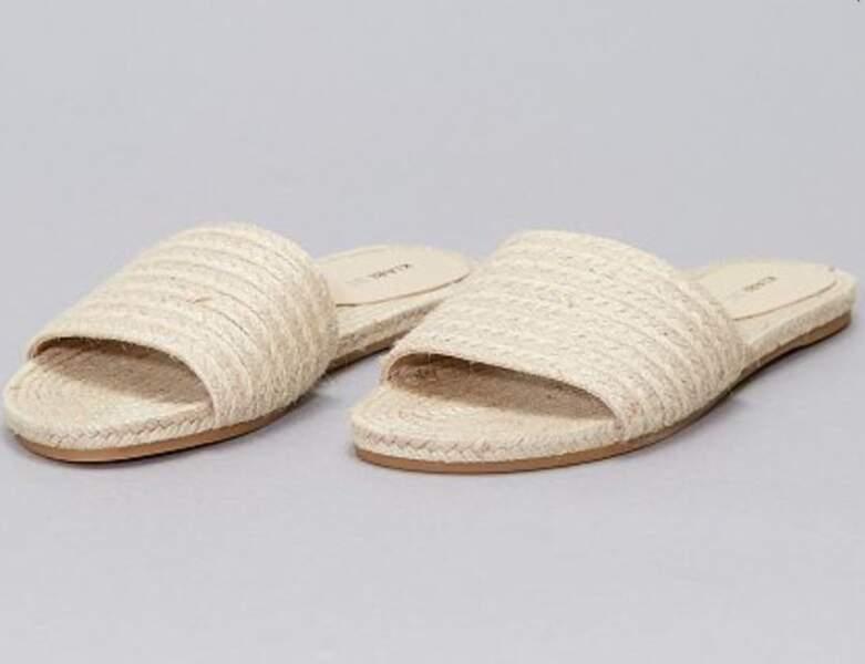 Chaussure raphia tendance : mules plates une bride
