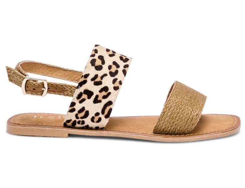 Chaussure raphia tendance : sandales plates en jute et à imprimé
