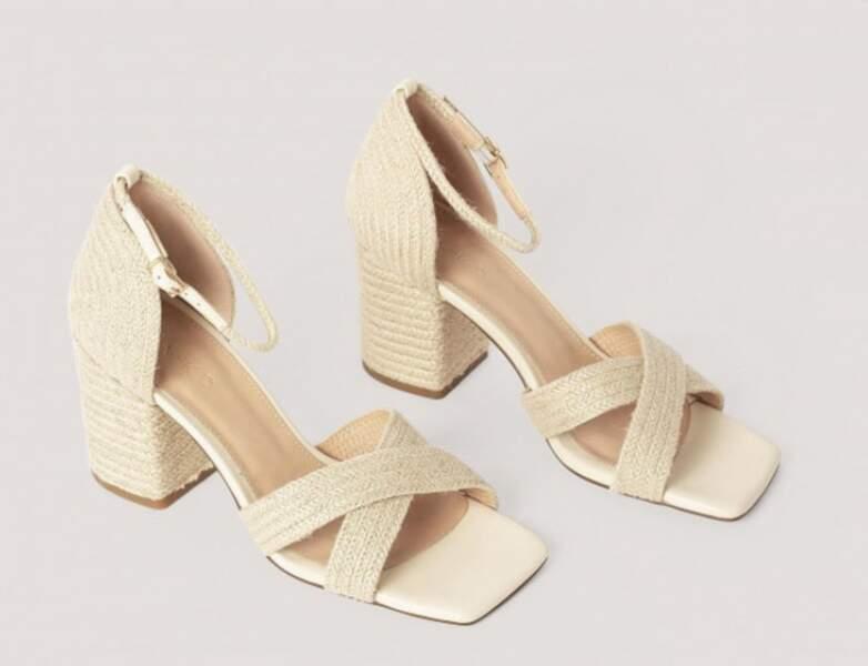 Chaussure raphia tendance : talons avec brides croisées