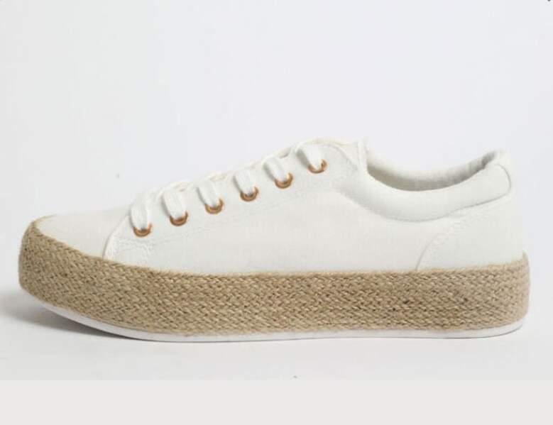 Chaussure raphia tendance : baskets en tissu avec plateforme