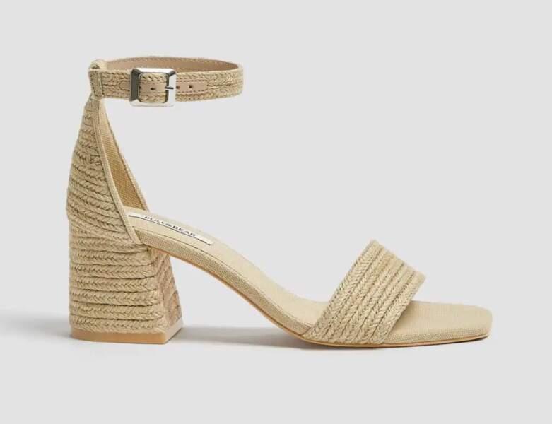 Chaussure raphia tendance : sandales haute ouvertes à une bride