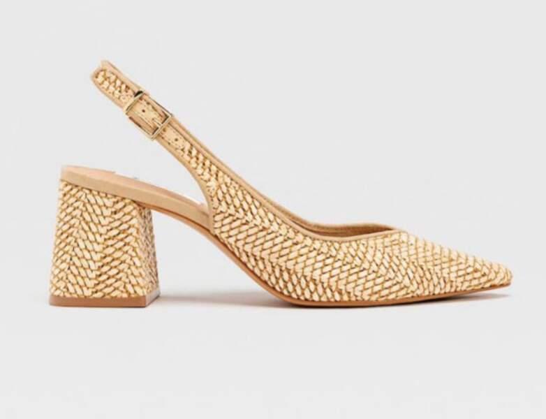 Chaussure raphia tendance : escarpins à bout pointu