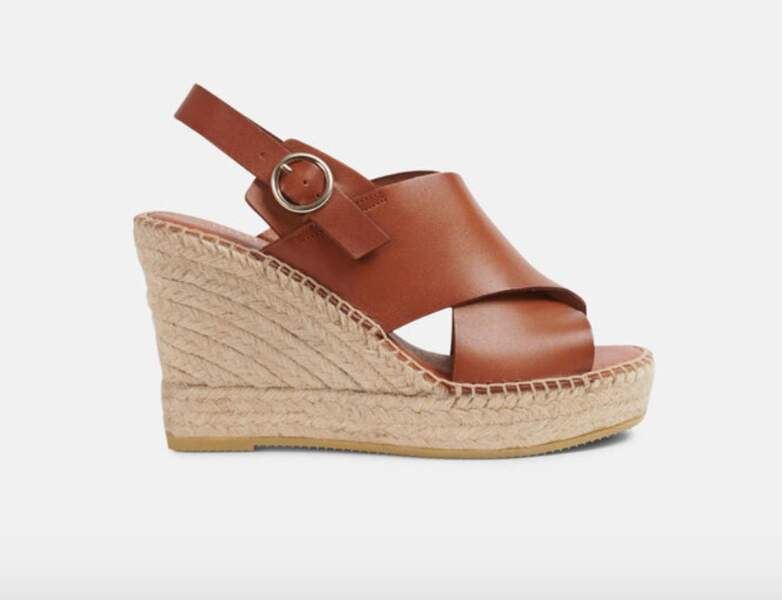 Chaussure raphia tendance : sandales en cuir avec talon en jute