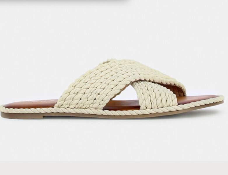 Chaussure raphia tendance : les mules plates brides croisées