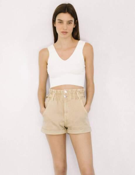 Short tendance pas cher : en jean beige