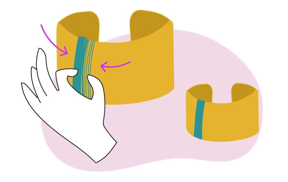 DIY manchette en laiton et fils : étape 3