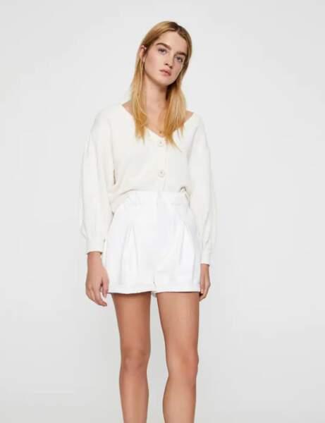 Short tendance pas cher : blanc en simili cuir