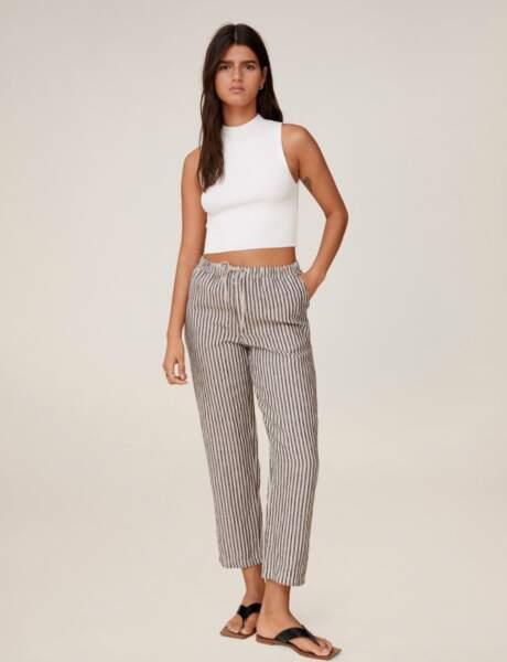 Pantalons d'été qui affinent : droit en lin et à rayures verticales