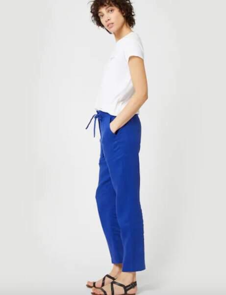 Pantalons d'été qui affinent : forme jogging en lin dans la tendance colorblock