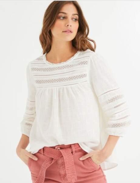 Mode 50 ans et plus : Une blouse romantique crème