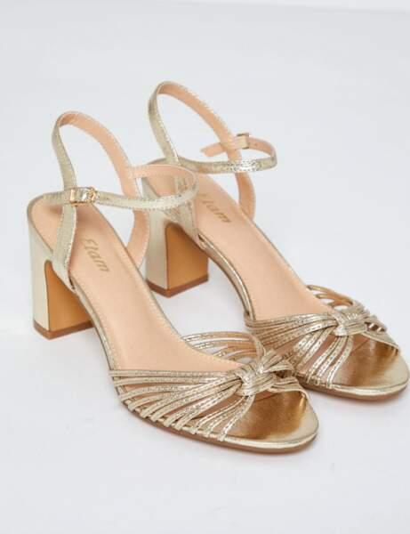 Mode 50 ans et plus : Une paire de sandales dorées