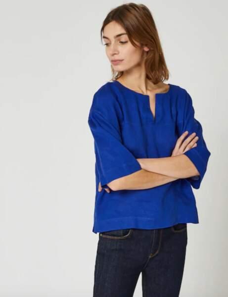 Mode 50 ans et plus : Une blouse en lin colorblock