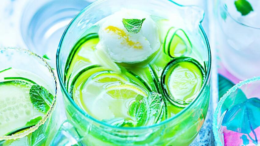 Mocktail acidulé pomme et concombre