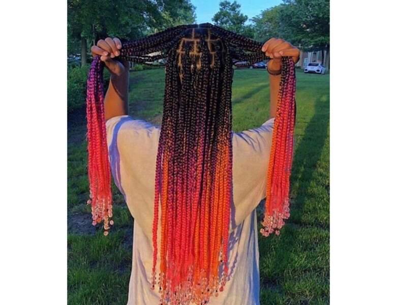 Box braids avec tie and dye