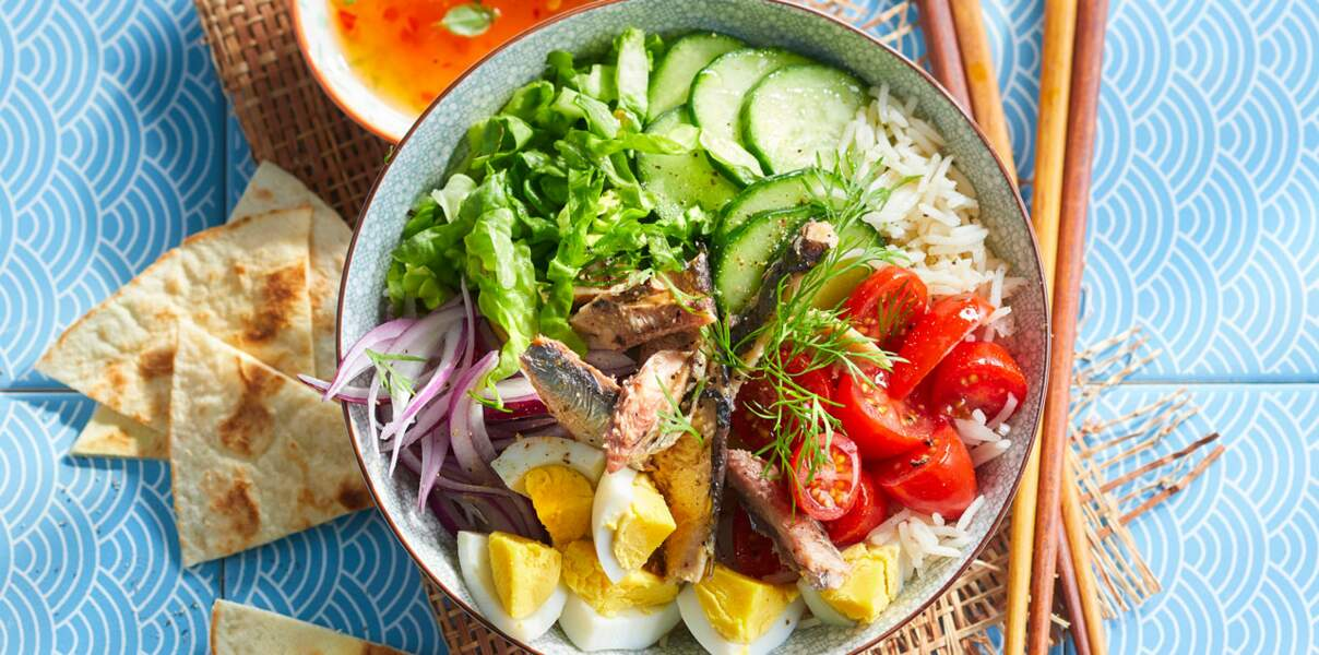 Salade de sardines façon poke bowl