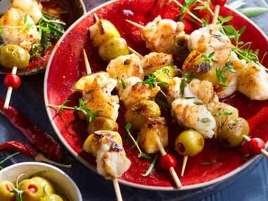 Barbecue, four, plancha : nos meilleures recettes de brochettes de poisson et fruits de mer