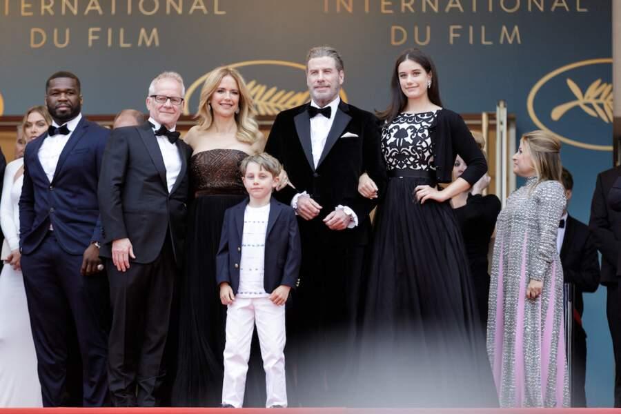 John Travolta et sa femme Kelly Preston avec leurs enfants Ella Bleu et Benjamin