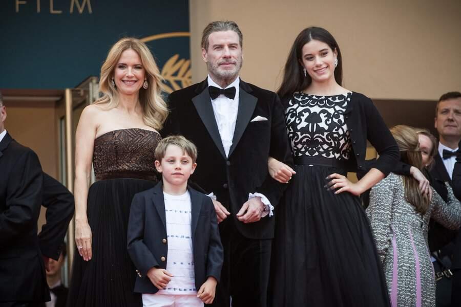 John Travolta avec sa femme Kelly Preston et leurs enfants Benjamin et Ella