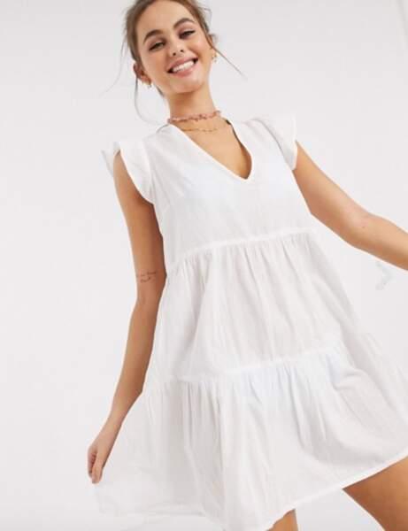 Robe de plage : blanche babydoll