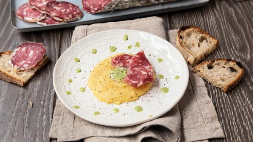 Salame di Varzi AOP, quenelles de polenta et crème de scarole