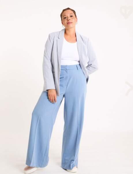 Les pantalons tendance de la rentrée automne-hiver 2020-2021 : bleu pastel et large