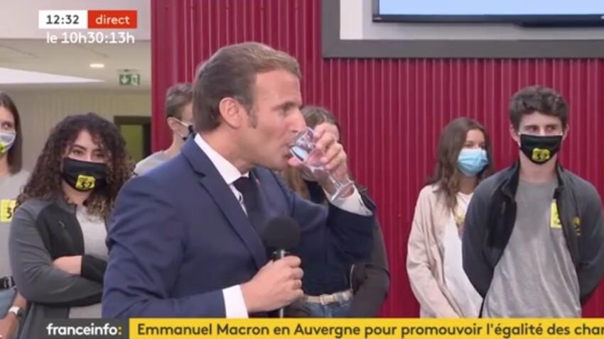 Emmanuel Macron s'étouffe en direct à la télé avec son masque, les internautes s'inquiètent