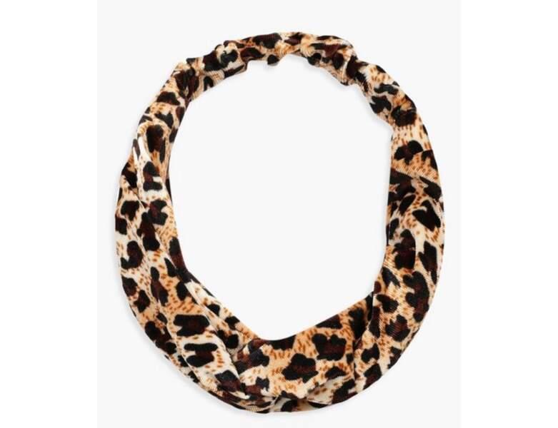 Bandeau pour cheveux nœud torsadé imprimé léopard