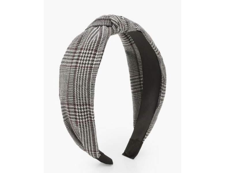 Bandeau pour cheveux à nœud torsadé et carreaux ton sur ton