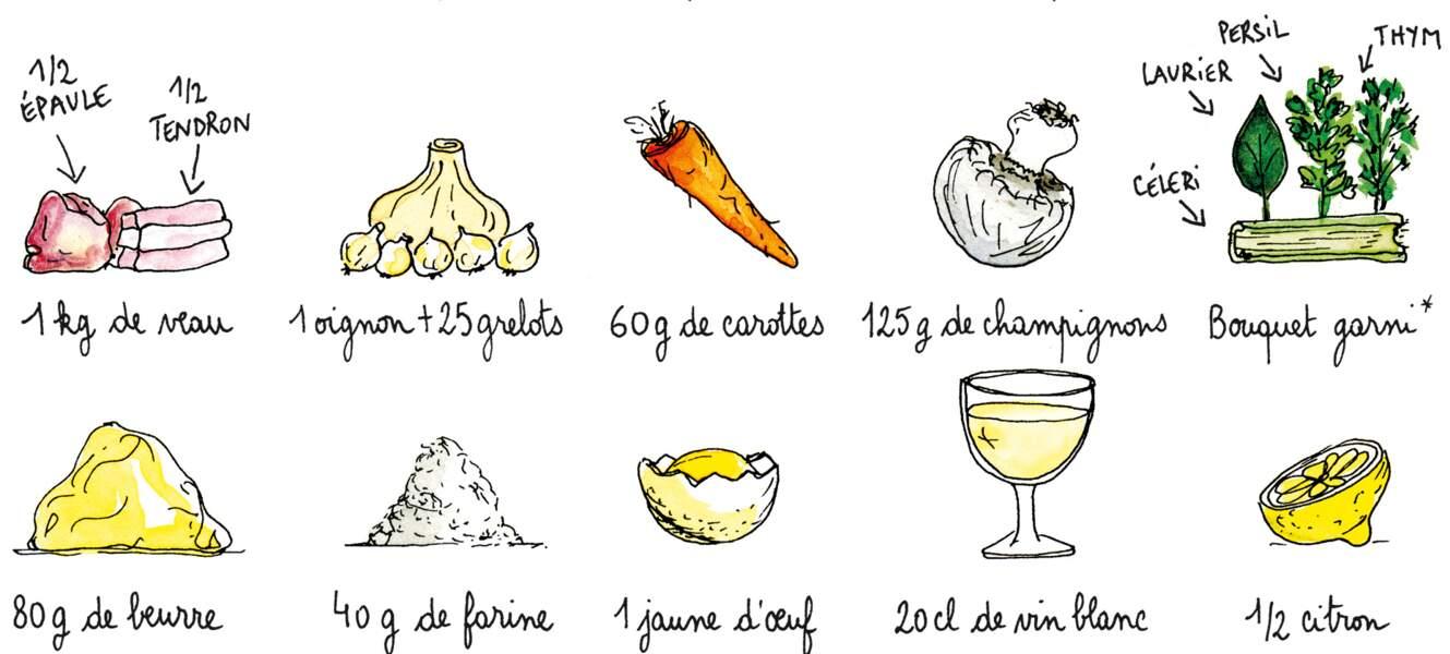 Les ingrédients de la blanquette de veau de Ginette Mathiot