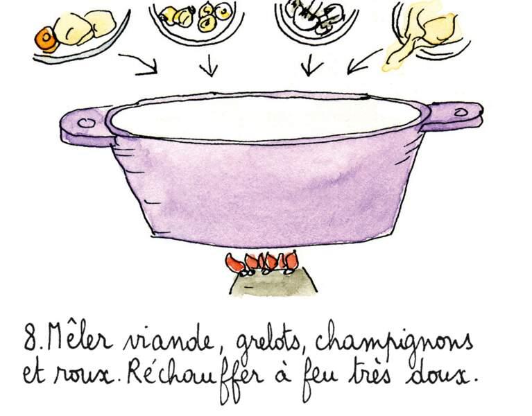 Etape 8 : remettre les ingrédients dans la cocotte.