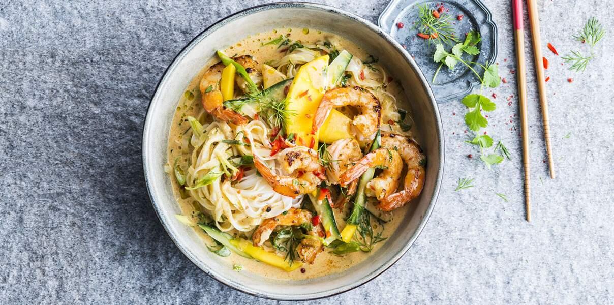 Poissons : une soupe thaïe aux crevettes pour Noël