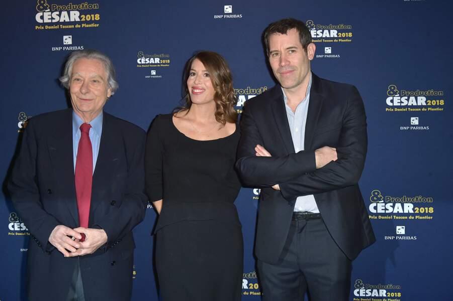 """Etienne Mallet, Nathalie Marchak et  Jalil Lespert, au dîner des producteurs et remise du prix """"Daniel Toscan du Plantier"""", à Paris, le 26 février 2018."""