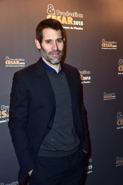 """L'acteur et réalisateur de 39 ans, au dîner des producteurs et remise du prix """"Daniel Toscan du Plantier"""" à la productrice du film """"Timbuktu"""", à Paris, le 16 février 2015."""