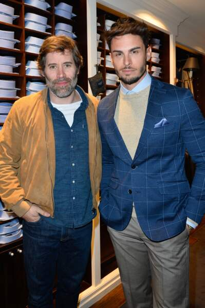 Jalil Lespert et Baptiste Giabiconi, lors du lancement de la collection Capsule Aston Martin by Hackett à Paris, le 26 avril 2017.
