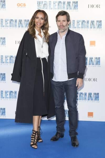 """Sonia Rolland et son compagnon Jalil Lespert à l'avant-première du film """"Valérian et la Cité des mille planètes"""" de Luc Besson, à la Cité du Cinéma, à Saint-Denis, le 25 juillet 2017."""