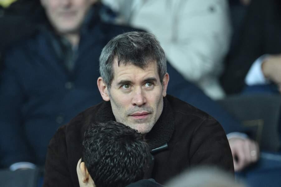 Jalil Lespert, dans les tribunes lors du match de quart de finale de la Coupe de Ligue, opposant le Paris Saint-Germain à l'AS Saint-Etienne, au Parc des Princes, à Paris, le 8 janvier 2020.